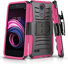Phone Case for [LG Rebel 4 / LG Rebel 3], [Refined Series][Pink] Shockproof Cover with Kickstand & [Holster] for for LG Rebel 4 & LG Rebel 3 (Tracfone, Simple Mobile, Straight Talk, Total Wireless)
