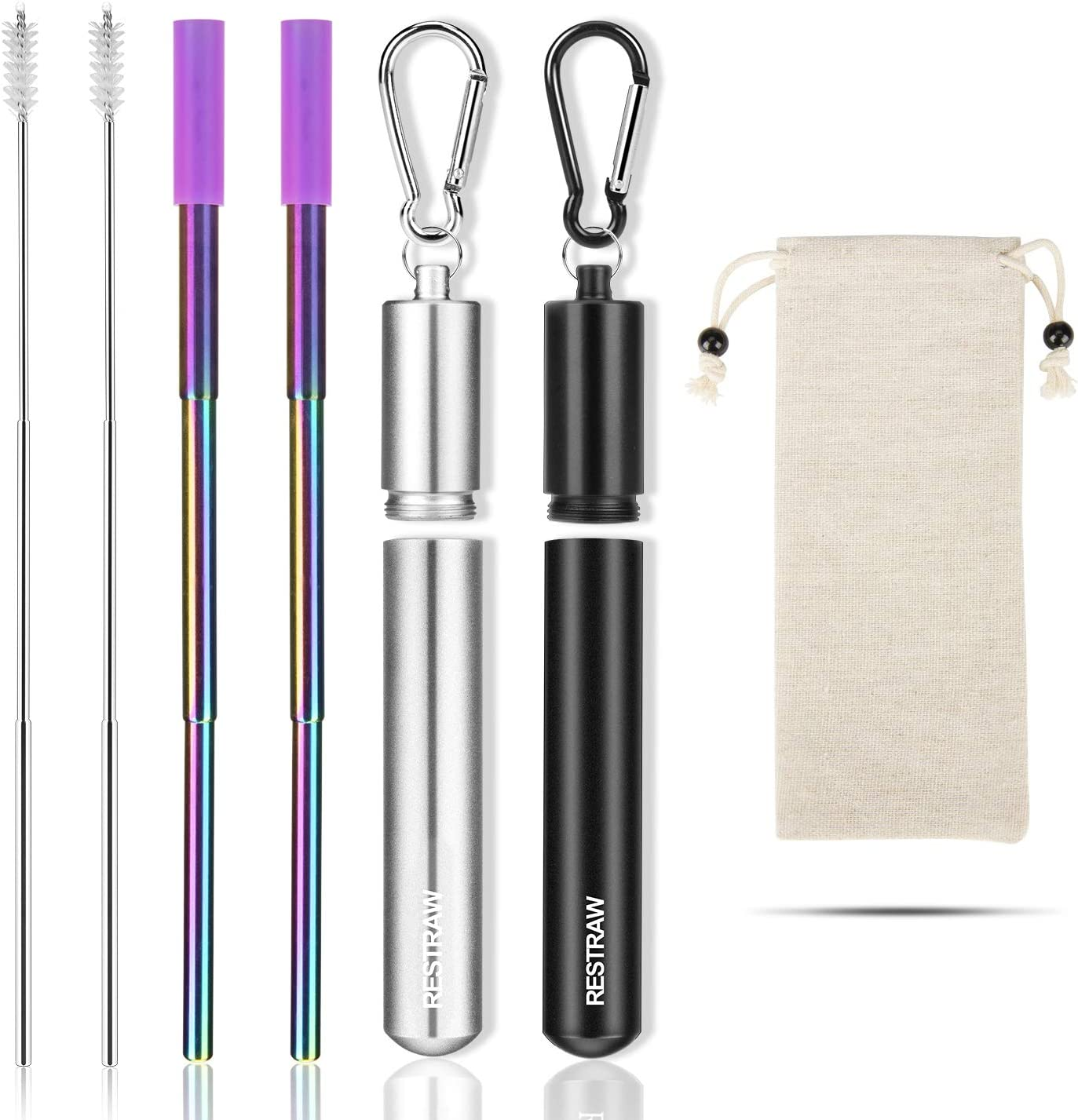 Metal Straws Reusable Collapsible Stainless Steel Straws Portable Telescopic Drinking Straw for Tumbler Cold Beverage with Aluminum Key-chain Cases, Cleaning Brushes (rainbow, set of 2)