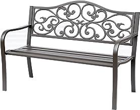 "Outsunny 50"" Vintage Floral Garden Cast Iron Patio Bench"