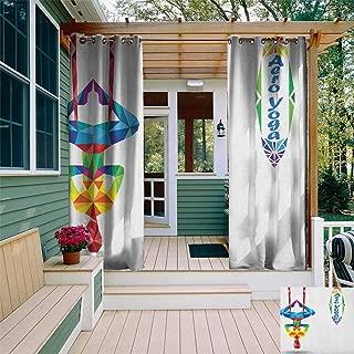 leinuoyi Yoga, Sun Zero Outdoor Curtains, Aerial Aero Anti Gravity Yoga Theme Colorful Triangles Fractal Style Human Body Image, for Gazebo W96 x L96 Inch Multicolor