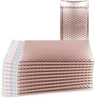 ABC 25 Pack Rose Gold Bubble mailers 5x9. Metallic padded envelopes 5 x 9. Light pink cushion envelopes. Peal and Seal. Self-adhesive shipping bags for mailing, packing, packaging. Wholesale price.