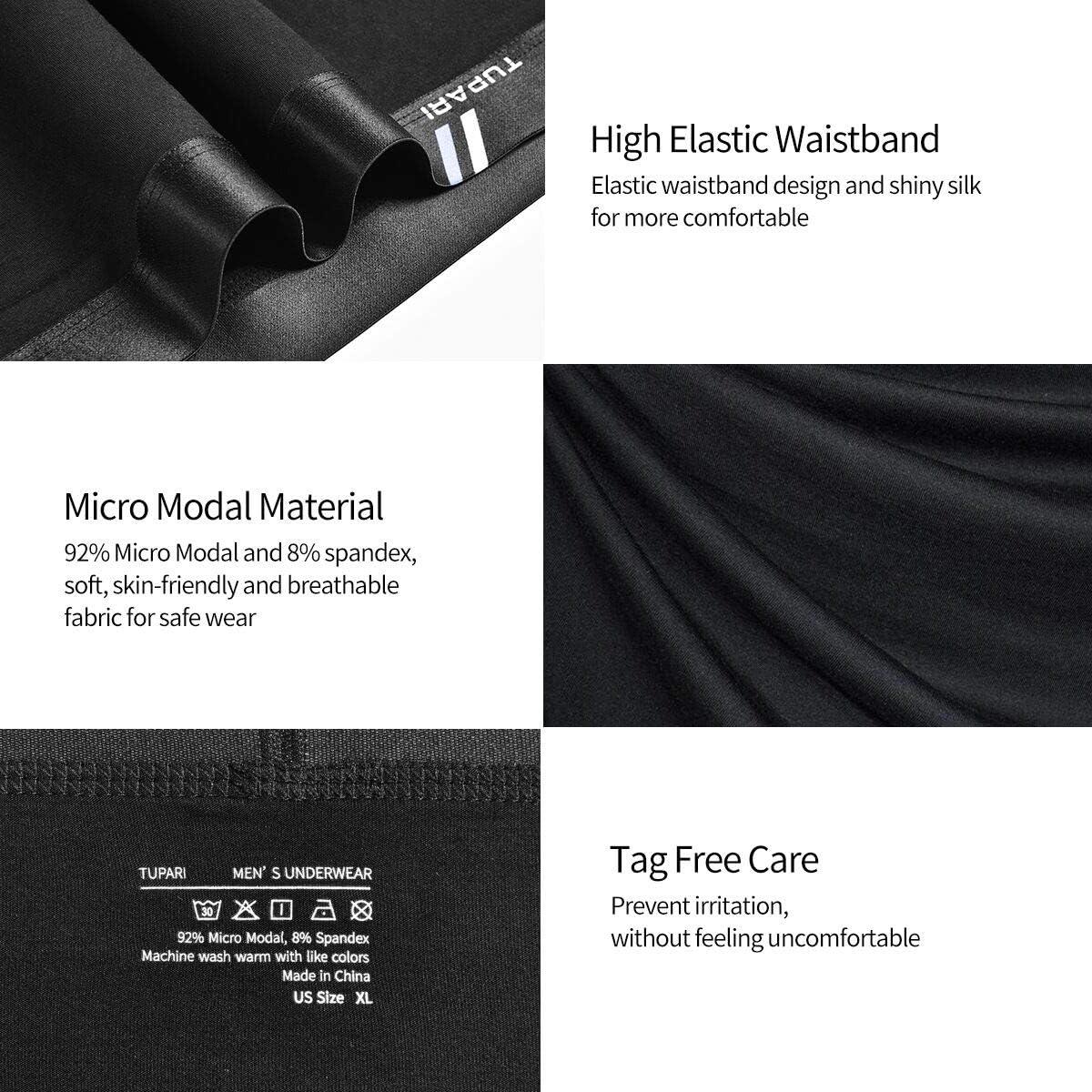 TUPARI Mens Boxer Briefs Underwear Soft Micro Modal Boxer Briefs for Men Pack Fly and Contour Pouch