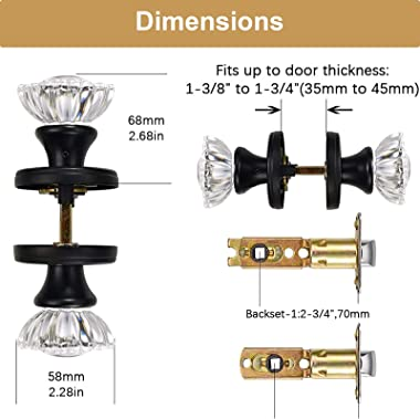 SHINY HANDLES Vintage Glass Door Knobs Interior, Crystal Door Knobs with Lock, Privacy Function for Bedroom and Bathroom (Mat