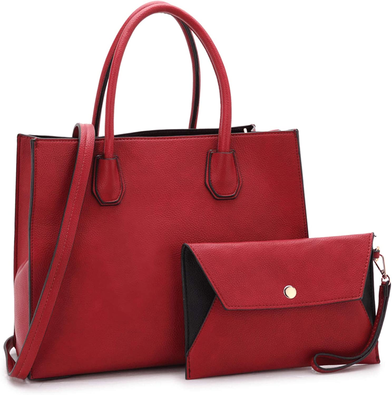 Dasein Women Designer Padlock Tassel Satchel Handbags Pebble Vegan Leather Purses Work Bag with Wallet