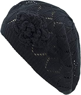 an Womens Crochet Flower Beanie Hats Lightweight Cutout Knit Beret Fashion Cap