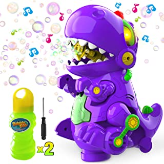 WisToyz Bubble Machine Dinosaur Toy 2 in 1, Newest Bump N Go Automatic Bubble Blower Bubble Maker, Bubble Machine for Kids Toddlers Boys Girls, Two Bottles of 120ml Bubble Solution & Screwdriver