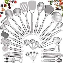 Stainless Steel Kitchen Utensil Set- Fungun 28 Pcs Cooking Utensils - Nonstick Kitchen Utensils Cookware Set with Spatula...