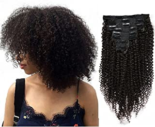 MEIEM Clip In Human Hair Extensions Brazilian Virgin African American 4B Kinky Curly Clip in Hair Extensions Natural Color Clip Ins For Black Women 8 Pcs 120g 10INCHES
