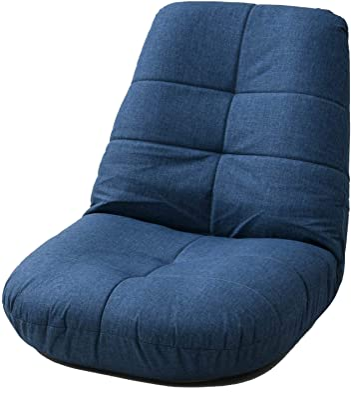 [山善] 座椅子 幅65×奥行70-87×高さ60-67cm リクライニング フィットして疲れにくい 完成品 ネイビー IKZ-65(NV)