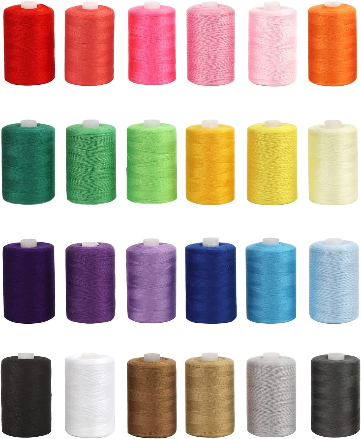 PinPon Sewing Thread, 24 Assorted Colors Total 24,000 Yards Serger Thread for Hand & Machine Sewing, Quilting Threads for Travel Home Use DIY