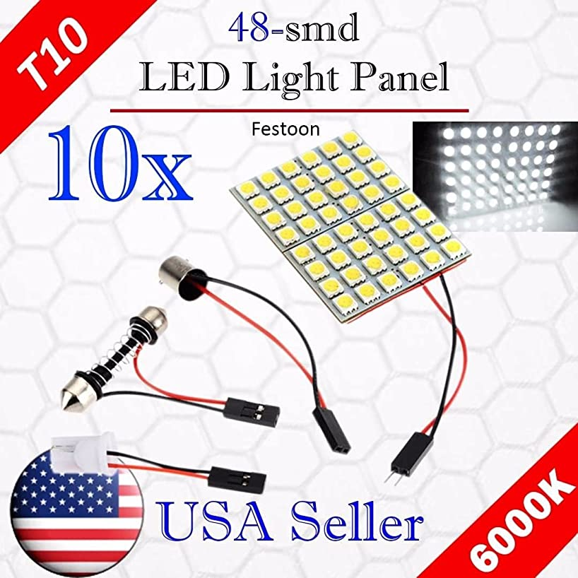 VITO 10x T10 48-SMD LED Panel Dome Light Auto Car Interior Map Reading Plate Light Roof Ceiling Interior Wired Lamp + T10 BA9S Festoon Adapter