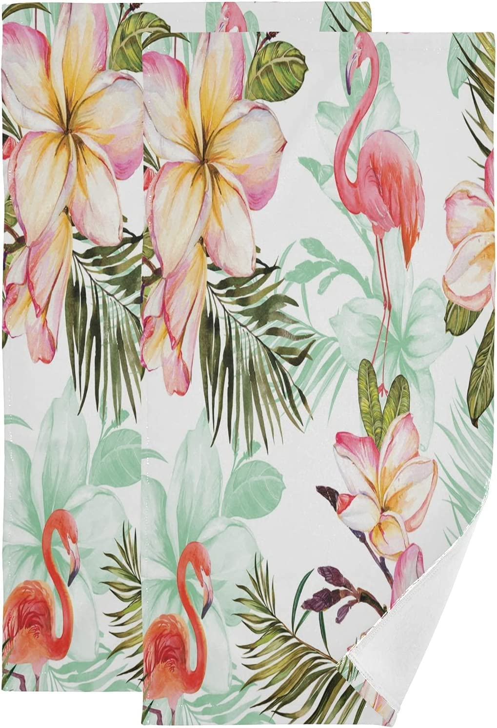 ALAZA Flamingo and Daily bargain sale Pink Plumeria Towels Flowers Soft Absorb Hand Ranking TOP14