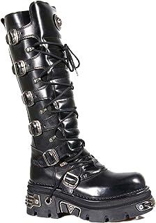 New Rock 272-S1 Boots Couleur Noir pour Femmes Longueur aux Genoux Cuir Naturel Style Gothique Rock Motard