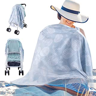 Kaome Nursing Cover for Breastfeeding, Built-in Burp Cloth & Pocket Breast Feeding Cover Ups, Large Soft Breathable Multiuse Full Coverage Breastfeeding Privacy Protection Breastfeeding Cover