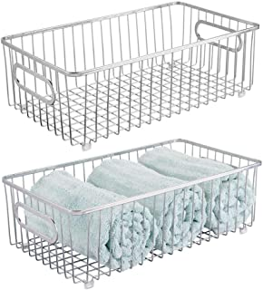 mDesign Metal Bathroom Storage Organizer Basket Bin - Farmhouse Wire Grid Design - for Cabinets, Shelves, Closets, Vanity Countertops, Bedrooms, Under Sinks - Large, 2 Pack - Chrome