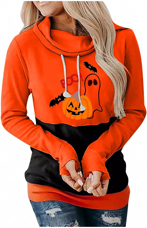 Womens Halloween Costumes, Pumpkin Bat Graphic Long Sleeve Crewneck Pullover Tops Costumes Sweaters Shirts