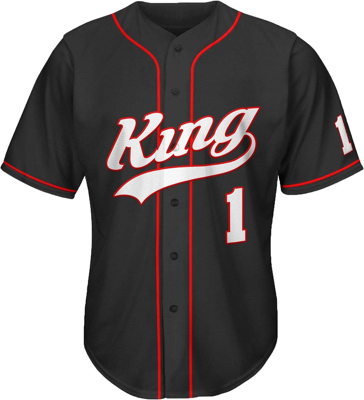 MOLPE King and Queen Baseball Jersey, 90s Theme Clothing for Women, Designer Baseball Jerseys for Men