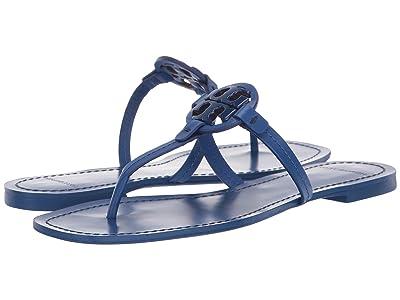 Tory Burch Mini Miller Leather Thong (Nautical Blue) Women