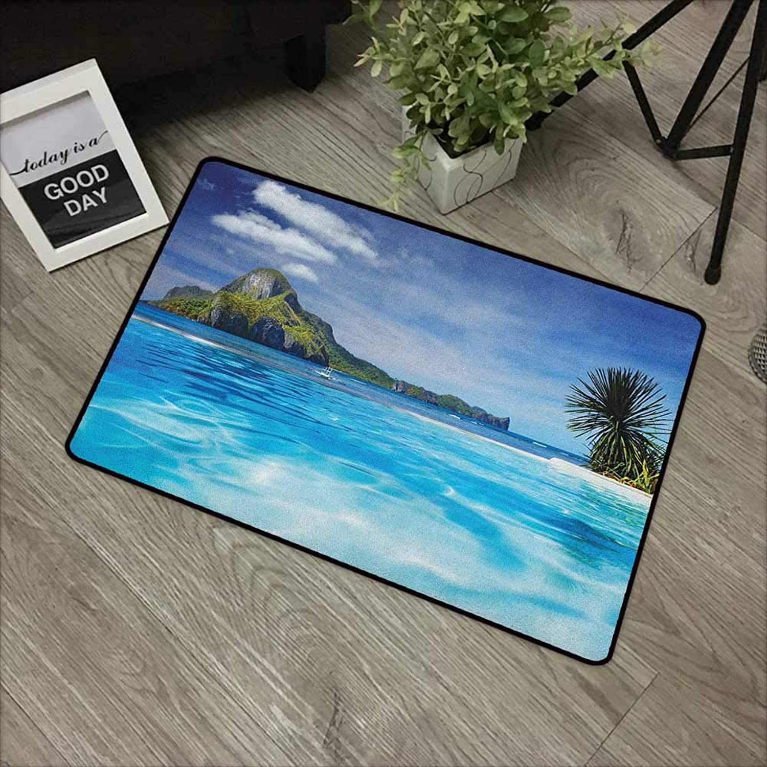 Pool Anti-Slip Door mat W35 x L59 INCH Landscape,Landscape with Swimming Pool and Distant Island Tropic Exotic Hawaiian Theme, Turquoise Green Easy to Clean, Easy to fold,Non-Slip Door Mat Carpet