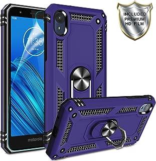 Moto E6 Phone Case,Moto E6 Case with HD Screen Protector,Gritup 360 Degree Rotating Metal Ring Holder Kickstand Armor Anti-Scratch Bracket Cover Phone Case for Motorola Moto E6 Purple