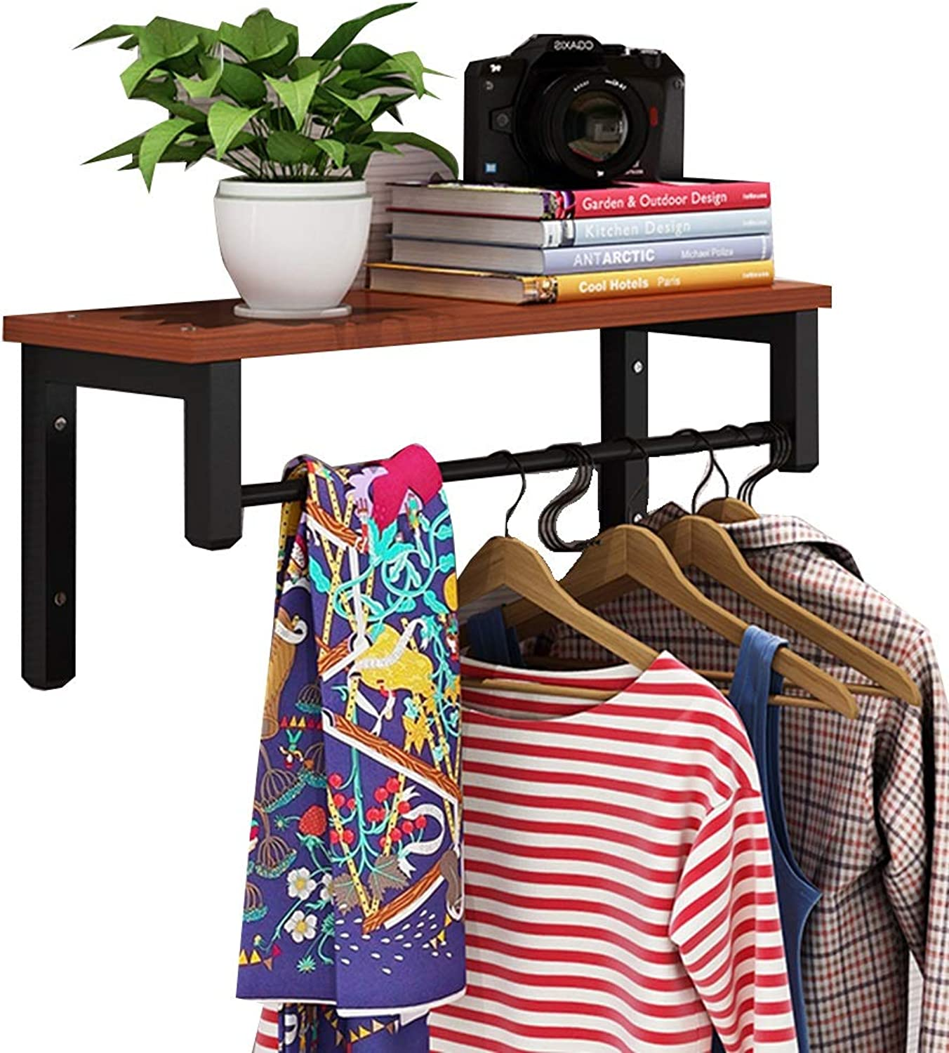 LIANGLIANG Wall Mounted Coat Rack Hanger Living Room Against The Wall Storage Display Stand Multifunction Hanger Solid Wood Stable, 10 colors, 3 Sizes (color   Brown A, Size   40x20x22.5cm)