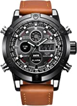 Men's Casual Daily Luxury Dual Movt Men's Leather Quarz Analog Digital LED Sport Wrist Watch (Brown, Men's Size)