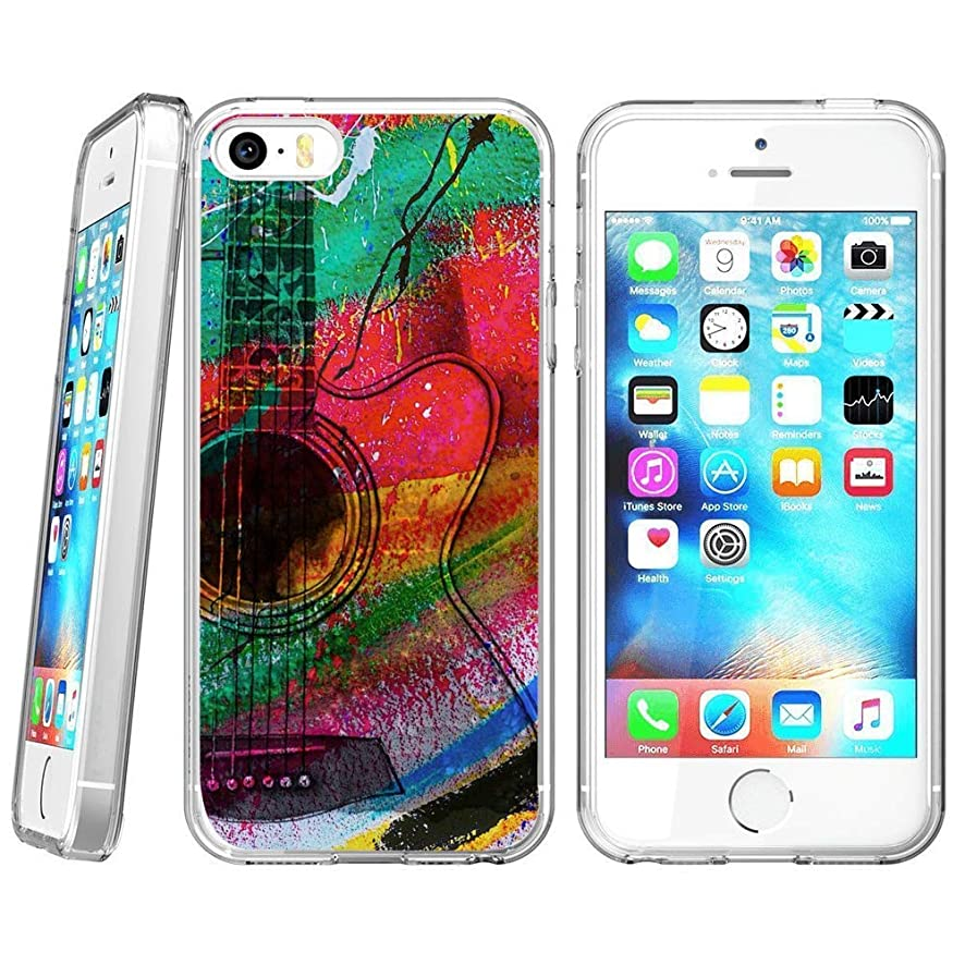 Clear Phone Case Compatible iPhone SE 5s 5 Customized Beautiful Guitar Design by MERVELLE TPU Clear Shock-Proof Protective Case [Ultra Slim, Anti-Slippery]