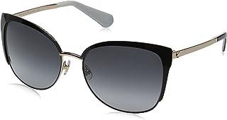 Kate Spade Women's Genice/s Oval Sunglasses, Black Gold/Gray Gradient, 57 mm