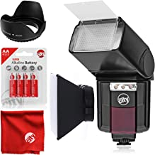 Circuit City CC-125 Automatic Universal Flash with Built-in LED Video Light for Canon EOS DSLR Cameras Bundle with Opteka SB-1 Universal Studio Soft Box Flash Diffuser and Accessories (4 Items)