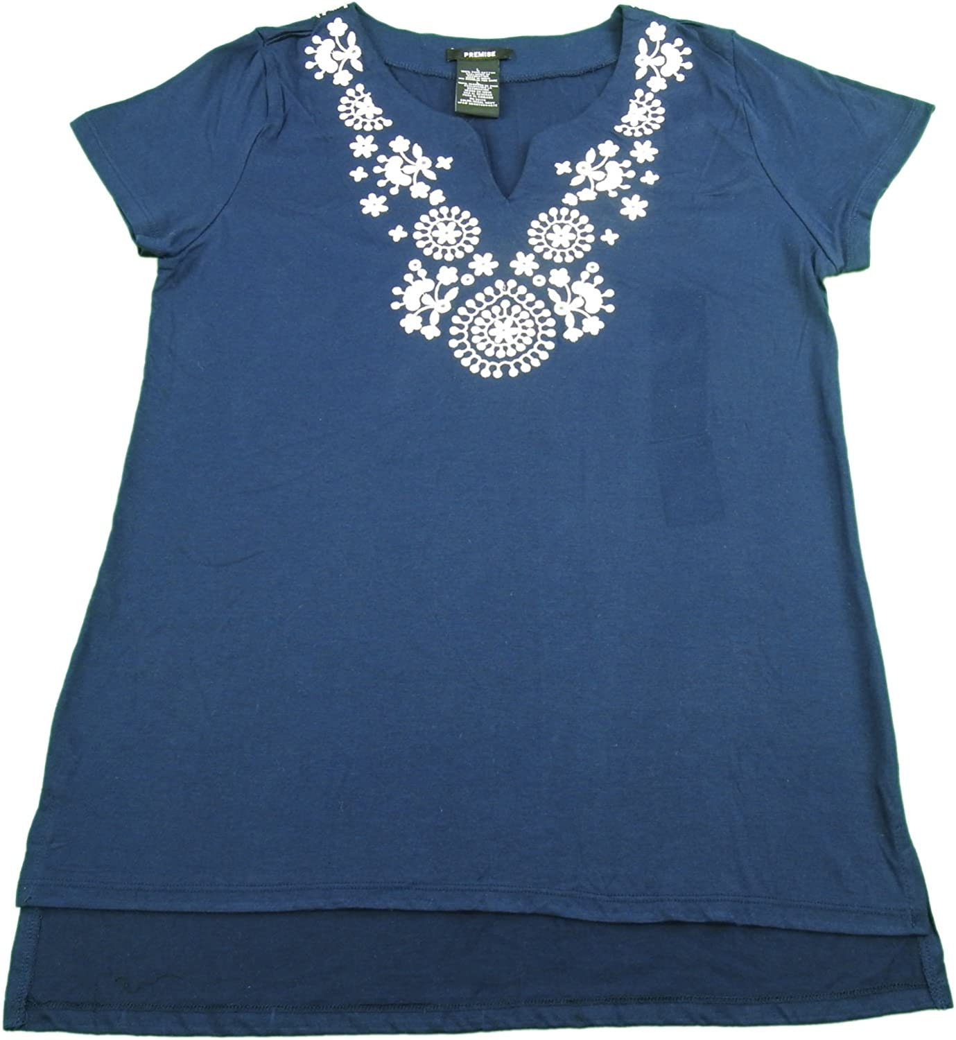 Premise Ladies Size Large Embroidered Top bluee