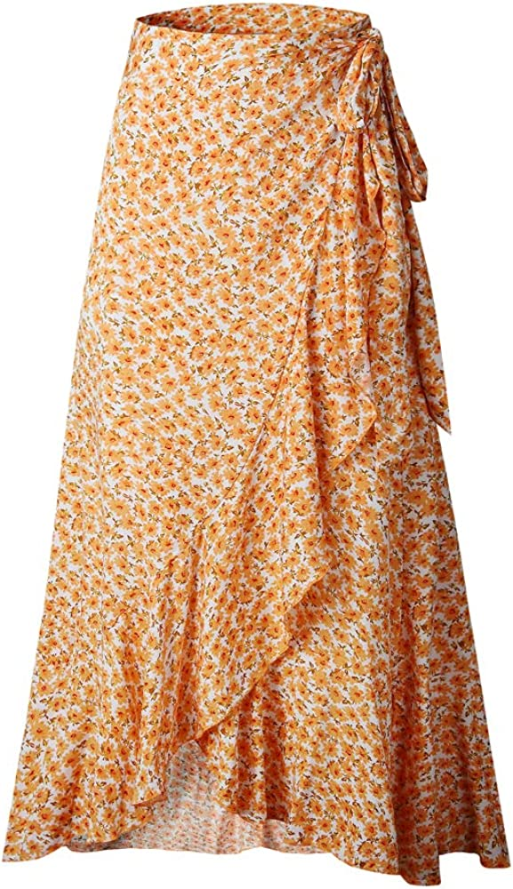 N /A Women High Waisted Wrap Floral Print Boho Beach Chiffon Long Skirt with Slit