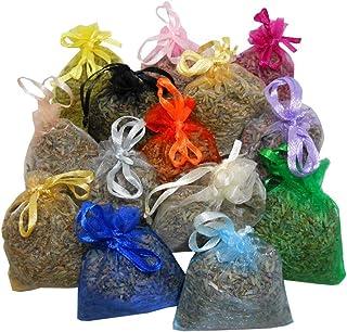 14 sacchettini di organza multicolor, ciascuno riempito con 10 g di pura lavanda (140g)