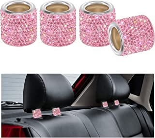 Car Headrest Collars, YINUO 4 Pack Crystal Car Seat Headrest Decoration Charms For Auto Car Truck SUV Vehicle - Pink