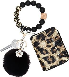 Leopard Wristlet Keychain Bracelet with Wallet for Women, Silicone Beaded Bracelet Keychain for Women, Key Chain Wallet Ri...