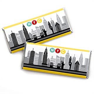 Big Dot of Happiness NYC Cityscape - Candy Bar Wrapper New York City Party Favors - Set of 24