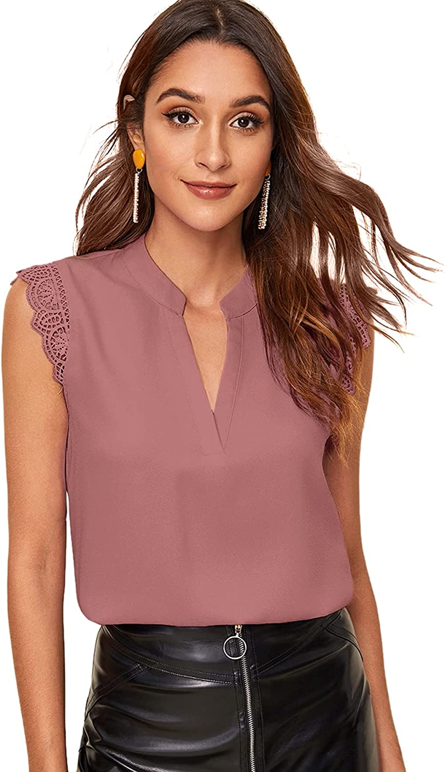 Milumia Women's Elegant Notch V Neck Sleeveless Blouse Guipure Lace Work Office Solid Top