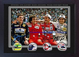 S&E DESING Nigel Mansell Alain Prost Ayrton Senna Nelson Piquet Signed Autograph Framed Print Photo Printed Without Mount
