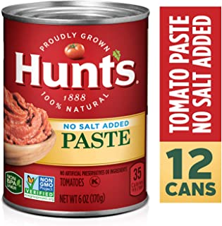 Hunt's Tomato Paste No Salt Added, Keto Friendly, 6 oz, 12 Pack