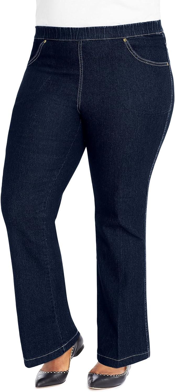 Just My Size Bootcut 4 Pocket Pull On Stretch Blue Jeans (Regular & Petite) (3X Plus Petite, Indigo Denim)