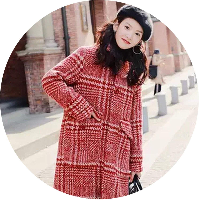 Elegant Vintage Warm Christmas Wool Coat Women Casual Long Turn Down Collar Jackets