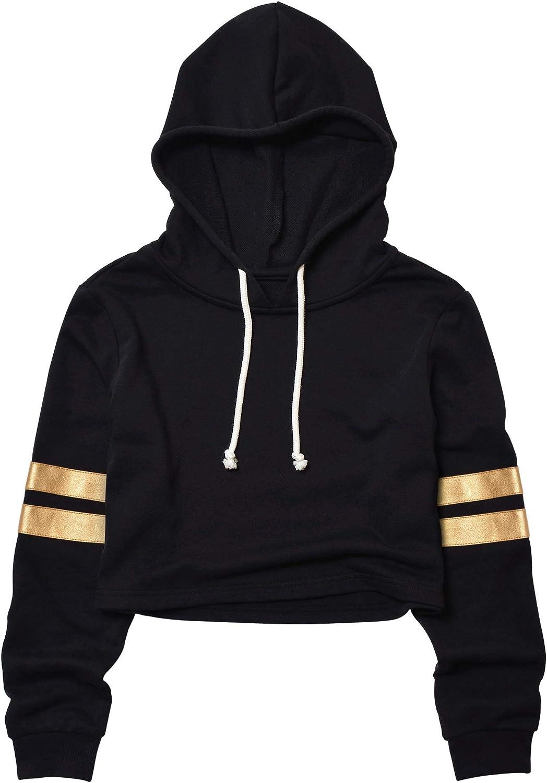 Mirawise Women's Cropped Hoodie Crop Sweatshirt Leather Contrast Stripes Long Sleeve Tops