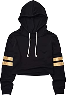 Women's Cropped Hoodie Crop Sweatshirt Leather Contrast Stripes Long Sleeve Tops