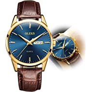 Men Women Watches Brown Leather-OLEVS Classic Analog Quartz Watch Week Date Casual Luminous...