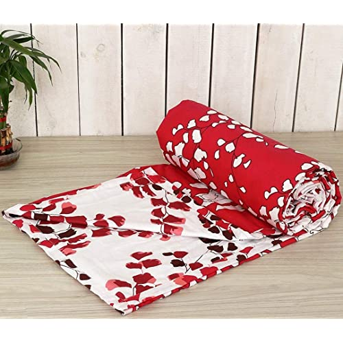 "Trance Home Linen 100% Cotton Malmal Single Dohar 58""X90"" (Red White Leaves)"