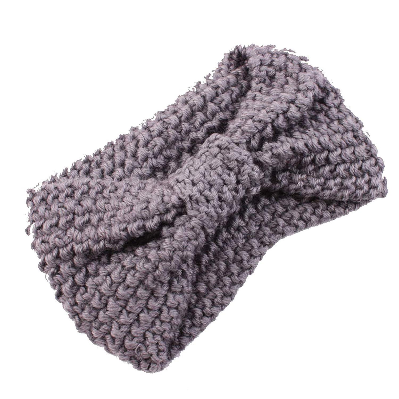 Women Winter Warm Fuzzy Fleece Lined Thick Knit Solid Ear Warmer Covers Headwrap (One Size, 01-Gray)