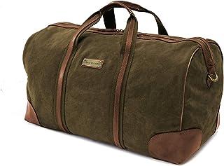 DRAKENSBERG Travel Bag - kleine Reisetasche im Retro-Vintage-Design, Damen und Herren, Handgepäck tauglich, handgemacht in Premium-Qualität, 40L, Canvas und Leder, Olivgrün, DR00115