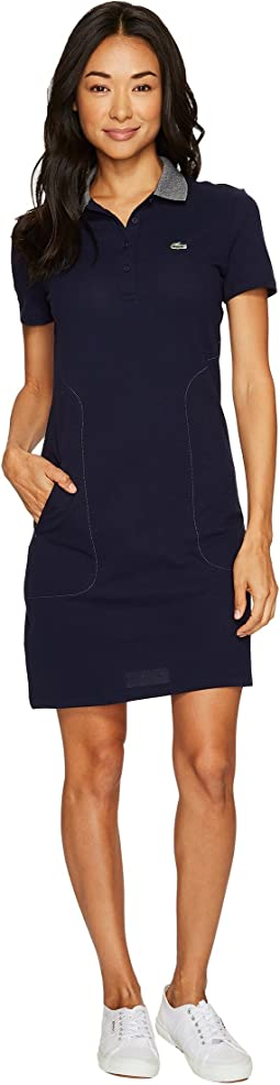 Lacoste - Short Sleeve Stretch Mini Pique Polo Dress