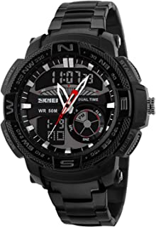 Lomanda Men Sport Watches for Quartz Stainless Strap Analog Quartz Wristwatch Military Waterproof Chronograph Date Black with Alarm,Chronograph