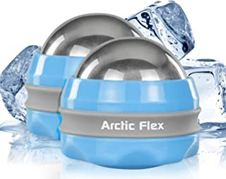 Arctic Flex Cold Massage Ball Roller (2-Pack) - Mini Massager for Foot, Back, Arm, Calf, Deep Tissue and Face - Manual Trigger Point Lacrosse Ball for Myofascial Release and Sore Muscle Relief