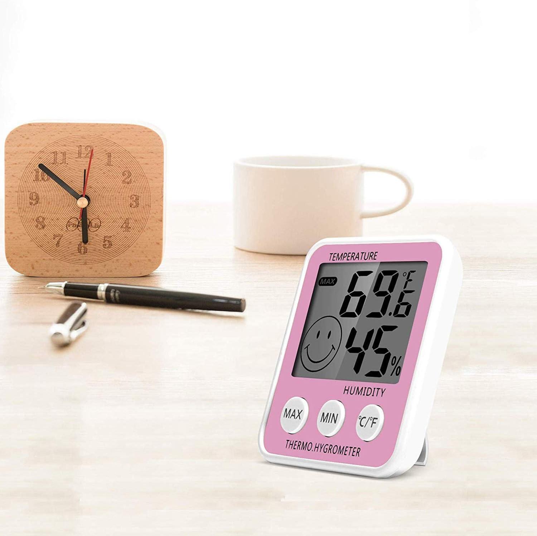 con Il Basamento CWC LCD Digitale Indoor termometro Color : Green Magnete Deumidificatore Serra Basement Baby Room Rosa